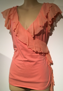 FENN WRIGHT MANSON ORANGE CHIFFON FRILL TOP SIZE S UK 8